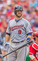 9 June 2013: Minnesota Twins catcher Ryan Doumit looks down the first base line during a game against the Washington Nationals at Nationals Park in Washington, DC. The Nationals shut out the Twins 7-0 in the first game of their day/night double-header. Mandatory Credit: Ed Wolfstein Photo *** RAW (NEF) Image File Available ***