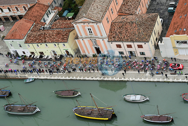The start of Stage 12 of the 103rd edition of the Giro d'Italia 2020 running 204km from Cesenatico to Cesenatico, Italy. 15th October 2020.  <br /> Picture: LaPresse/Jennifer Lorenzini | Cyclefile<br /> <br /> All photos usage must carry mandatory copyright credit (© Cyclefile | LaPresse/Jennifer Lorenzini)