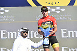 Dylan Groenewegen (NED) Team Lotto NL-Jumbo retains the Points Red Jersey at the end of Stage 3 The Silicon Oasis Stage of the Dubai Tour 2018 the Dubai Tour's 5th edition, running 180km from Skydive Dubai to Fujairah, Dubai, United Arab Emirates. 7th February 2018.<br /> Picture: LaPresse/Fabio Ferrari   Cyclefile<br /> <br /> <br /> All photos usage must carry mandatory copyright credit (© Cyclefile   LaPresse/Fabio Ferrari)