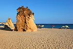 Portugal, Algarve, near Portimao: View over Bougainvillea to Praia do Vau