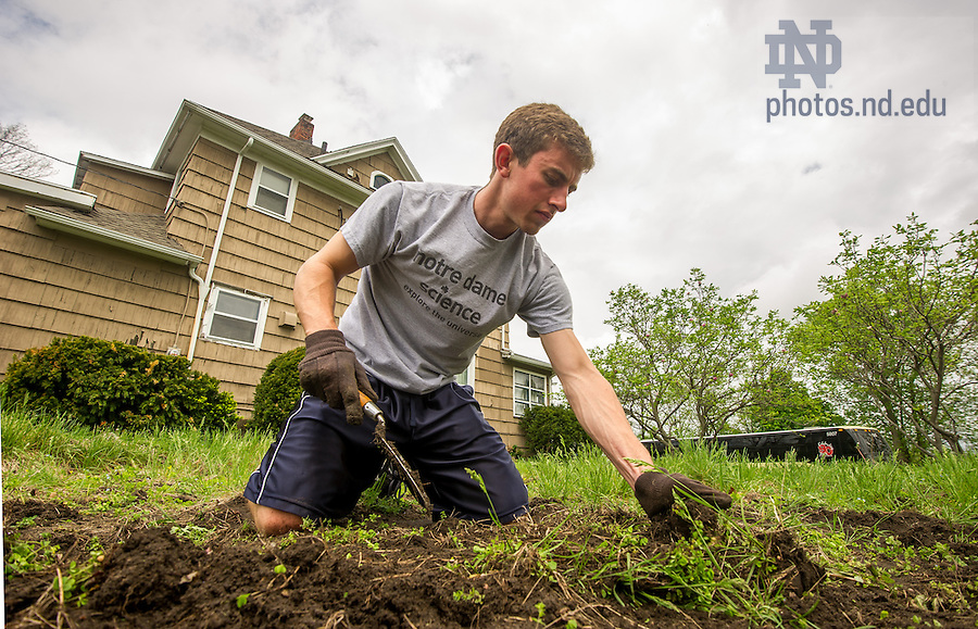 May 13, 2014; Eric Brumleve works in the garden at The Safe Place in South Bend during senior week 2014. Photo by Matt Cashore/University of Notre Dame