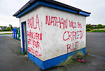 Graffiti on walls at the Tennis Court on the Callystown Road in Clogherhead. 18/05/2020.<br /> Picture Thos Caffrey / Newsfile.ie<br /> <br /> All photo usage must carry mandatory copyright credit (© Newsfile | Thos Caffrey)