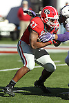 December 30, 2016: Georgia Bulldog running back Nick Chubb (27) in the first quarter of the Autozone Liberty Bowl at Liberty Bowl Memorial Stadium in Memphis, Tennessee. ©Justin Manning/Eclipse Sportswire/Cal Sport Media
