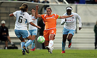 Sky Blue co-captain Christie Rampone (3) sends the ball through as Brittany Klein (6) and Danesha Adams (5) approach.  Sky Blue defeated the Chicago Red Stars 1-0 in a mid-week game, Wednesday, June 17, at Yurcak Field.
