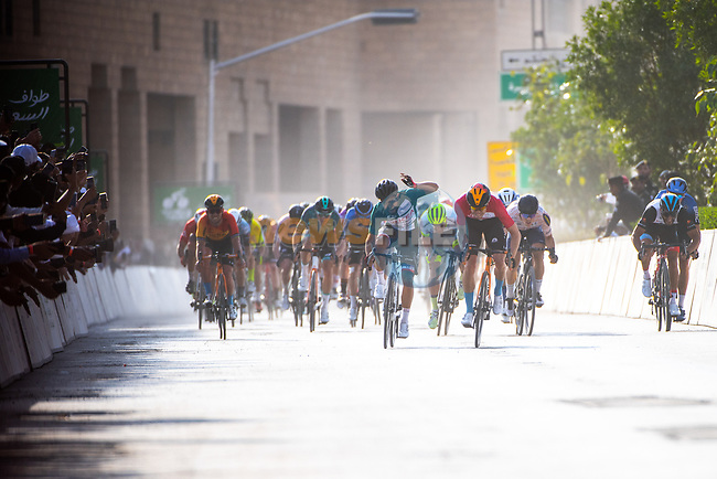 Phil Bauhaus (GER) Bahrain-Mclaren beats Nacer Bouhanni (FRA) Team Arkea Samsic to win Stage 5 of the Saudi Tour 2020 running 144km from Princess Nourah University to Al Masmak, Saudi Arabia. 8th February 2020. <br /> Picture: ASO/Pauline Ballet | Cyclefile<br /> All photos usage must carry mandatory copyright credit (© Cyclefile | ASO/Pauline Ballet)