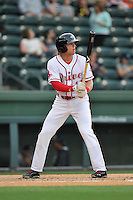 Left fielder Trenton Kemp (17) of the Greenville Drive bats in a game against the Charleston RiverDogs on Tuesday, May 17, 2016, at Fluor Field at the West End in Greenville, South Carolina. Greenville won, 4-2. (Tom Priddy/Four Seam Images)