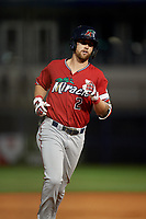 Fort Myers Miracle Aaron Whitefield (2) rounds the bases after hitting a home run during a Florida State League game against the Charlotte Stone Crabs on April 6, 2019 at Charlotte Sports Park in Port Charlotte, Florida.  Fort Myers defeated Charlotte 7-4.  (Mike Janes/Four Seam Images)