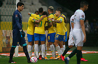 9th October 2020; Arena Corinthians, Sao Paulo, Sao Paulo, Brazil; FIFA World Cup Football Qatar 2022 qualifiers; Brazil versus Bolivia; Players of Brazil celebrates their goal from Roberto Firmino in the 30th minute 2-0
