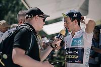 Simon Yates (GBR/Orica-Scott) interviewed before the start<br /> <br /> 104th Tour de France 2017<br /> Stage 14 - Blagnac › Rodez (181km)