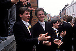 Queen visits Eton College on the 550th anniversary of the school, 4 June 1990. Founders day and now Parents Day. Students clap the Queen as she leaves the college after her visit.