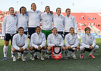 25 May 09: The starting eleven of the Women's USA National Team in an International Friendly soccer game between the US Women's Team and the Canadian Women's Team at BMO Field in Toronto..The US Women's Team won 4-0..