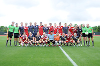 Washington Freedom and Canadian Women's National Team posing together for a photo. The Canadian National Team tied The Washington Freedom 3-3 in an exhibition match at George Mason University ,Sunday May 23, 2010.