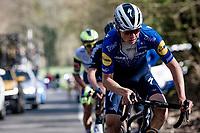 Mauri Vansevenant (BEL/Deceuninck - Quick Step) up the last climb of the day: the Côte de la Roche-aux-Faucons<br /> <br /> 107th Liège-Bastogne-Liège 2021 (1.UWT)<br /> 1 day race from Liège to Liège (259km)<br /> <br /> ©kramon