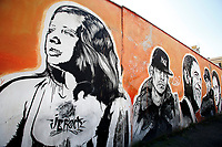 Title Wall of Fame, Artist  JB Rock, shown Janis Joplin, Barack Obama<br /> This is a 60 meters mural showing famous faces like the Hall of Fame<br /> Rome February 7th 2019. Street Art in Rome, Ostiense<br /> district. Very important writers painted Murales in various districts of Rome to tell stories about the city, to commemorate important moments, to embellish the quarter or simply to portray it.  <br /> Photo Samantha Zucchi Insidefoto