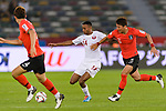 Salem Al Hajri of Qatar (C) fights for the ball with Jung Wooyoung of South Korea (R) during the AFC Asian Cup UAE 2019 Quarter Finals match between Qatar (QAT) and South Korea (KOR) at Zayed Sports City Stadium  on 25 January 2019 in Abu Dhabi, United Arab Emirates. Photo by Marcio Rodrigo Machado / Power Sport Images