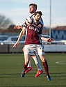 East Fife's Kevin Rutkiewicz and Stenny's Darren Smith challenge for the ball. <br /> <br /> <br /> 15/02/2014   jspa015_smuir_v_efife     <br /> Copyright  Pic : James Stewart   <br /> <br /> James Stewart Photography 19 Carronlea Drive, Falkirk. FK2 8DN      Vat Reg No. 607 6932 25   Tel:  +44 (0)7721 416997<br /> E-mail  :  jim@jspa.co.uk   If you require further information then contact Jim Stewart on any of the numbers above........