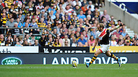 Andy Goode of London Wasps takes a conversion attempt during the Aviva Premiership match between London Wasps and Gloucester Rugby at Twickenham Stadium on Saturday 19th April 2014 (Photo by Rob Munro)