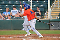 St. Lucie Mets Jose Colina (20) bats during a game against the Fort Myers Mighty Mussels on June 3, 2021 at Hammond Stadium in Fort Myers, Florida.  (Mike Janes/Four Seam Images)
