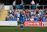 FC Halifax Town 1 Mickleover Sports 1, 23/04/2011. The Shay, Northern Premier League. Midfielder Simon Garner holding his head in disbelief as he misses a chance at The Shay, home of FC Halifax Town (in blue), on the day that they were presented with the Northern Premier League Premier Division championship trophy following their match with Mickleover Sports, which ended in a 1-1 draw in front of a crowd of 2,404. The club replaced Halifax Town A.F.C. who went into administration during the 2007–08 season, having previously been members of the Football League for 80 years. Their promotion meant they would play in Conference North in the 2011-12 season. Photo by Colin McPherson.