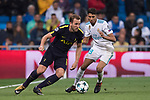 Harry Kane of Tottenham Hotspur FC (L) fights for the ball with Achraf Hakimi of Real Madrid (R) during the UEFA Champions League 2017-18 match between Real Madrid and Tottenham Hotspur FC at Estadio Santiago Bernabeu on 17 October 2017 in Madrid, Spain. Photo by Diego Gonzalez / Power Sport Images