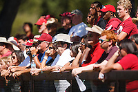 STANFORD,CA-- August 24, 2013: Fans watch during the open practice at the Dan Elliott Practice Field Saturday.<br /> <br /> It was part the Stanford Football 2013 Open House.