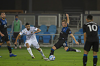 SAN JOSE, CA - SEPTEMBER 13: Jackson Yueill #14 of the San Jose Earthquakes takes a shot during a game between Los Angeles Galaxy and San Jose Earthquakes at Earthquakes Stadium on September 13, 2020 in San Jose, California.