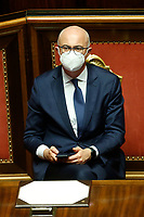 Minister of relations with Parliament Federico D'Inca' during the Italian premier's speech to inform the Senate about the last Covid-19 decree.<br /> Rome (Italy), October 21st 2020<br /> Photo Samantha Zucchi Insidefoto
