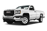 Stock pictures of low aggressive front three quarter view of 2016 GMC Sierra-1500 2WD-Regular-Cab-Long-Box 2 Door Pick-up Low Aggressive