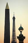 The evening light over Obelisk and a street lamp in Concorde Square Place de la Concorde with Eiffel Tower in the background. Paris. France