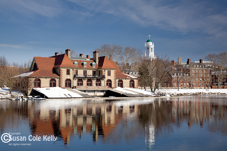 The Weld Boathouse and the Charles River, Harvard University, Cambridge, Greater Boston, MA
