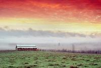 Barn and sunrise. Near Alpine, Oregon.
