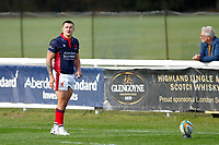 Dan Barnes of London Scottish sizes up a kick during the Championship Cup match between London Scottish Football Club and Nottingham Rugby at Richmond Athletic Ground, Richmond, United Kingdom on 28 September 2019. Photo by Carlton Myrie / PRiME Media Images
