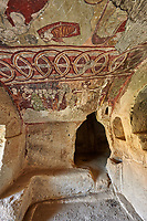 """Pictures & images of the interior frescoes of the  Comlekci Church,  10th century, the Vadisi Monastery Valley, """"Manastır Vadisi"""",  of the Ihlara Valley, Guzelyurt , Aksaray Province, Turkey.<br /> <br /> Comlekci Church is a Roman Byzantine church dating from the 10th century. the south section of the roof frescoes depict the Evangel, Christmas and the adoration of the magi. The northern panel frescoes depict Christ and the Cross."""