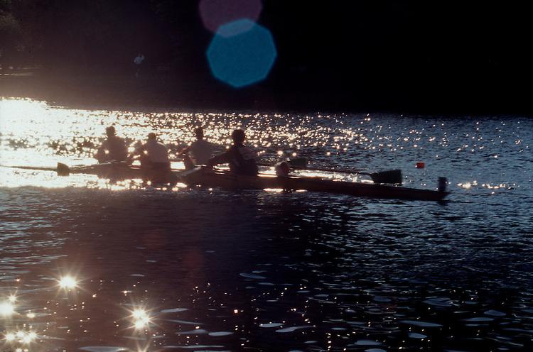 Rowing, Head of the Charles Regatta, Cambridge; Massachusetts; Charles River; Boston, New England, USA, men's four oared racing shell, .