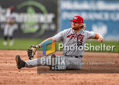21 July 2019: Tri-City ValleyCat infielder Zach Biermann makes the stop but is unable to make the throw for the out in the 3rd inning against the Vermont Lake Monsters at Centennial Field in Burlington, Vermont. The Lake Monsters rallied to defeat the ValleyCats 6-3 in NY Penn League play. Mandatory Credit: Ed Wolfstein Photo *** RAW (NEF) Image File Available ***