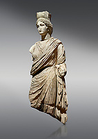 Roman statue of Tyche. Marble. Perge. 2nd century AD. Inv no 3062 . Antalya Archaeology Museum; Turkey. <br /> <br /> A Tyche; was the presiding tutelary deity who governed the fortune and prosperity of a city; its destiny. In Classical Greek mythology; she is the daughter of Aphrodite and Zeus or Hermes.