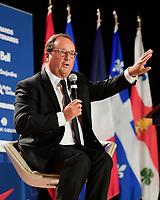 L'ex President Francais Francois Hollande<br />  a la tribune du CORIM, le 21 septembre 2018<br /> <br /> PHOTO : Agence Quebec Presse