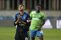 SAN JOSE, CA - OCTOBER 18: Chris Wondolowski #8 of the San Jose Earthquakes reacts during a game between Seattle Sounders FC and San Jose Earthquakes at Earthquakes Stadium on October 18, 2020 in San Jose, California.