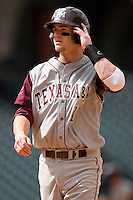 Caleb Shofner #1 of the Texas A&M Aggies in action versus the UC-Irvine Anteaters in the 2009 Houston College Classic at Minute Maid Park February 27, 2009 in Houston, TX.  The Aggies defeated the Anteaters 9-2. (Photo by Brian Westerholt / Four Seam Images)