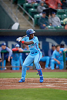 Sauryn Lao (3) of the Ogden Raptors at bat against the Rocky Mountain Vibes at Lindquist Field on July 4, 2019 in Ogden, Utah. The Raptors defeated the Vibes 4-2. (Stephen Smith/Four Seam Images)