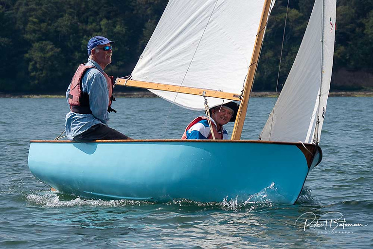Owen O'Connell's blue hulled Rankin dinghy
