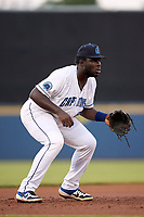 Lake County Captains third baseman Jhonkensy Noel (43) during a game against the Great Lakes Loons on August 28, 2021 at Classic Park in Eastlake, Ohio.  (Mike Janes/Four Seam Images)