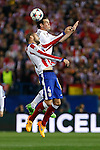 Atletico de Madrid's Mario Suarez (L) and Real Madrid´s Gareth Bale during quarterfinal first leg Champions League soccer match at Vicente Calderon stadium in Madrid, Spain. April 14, 2015. (ALTERPHOTOS/Victor Blanco)