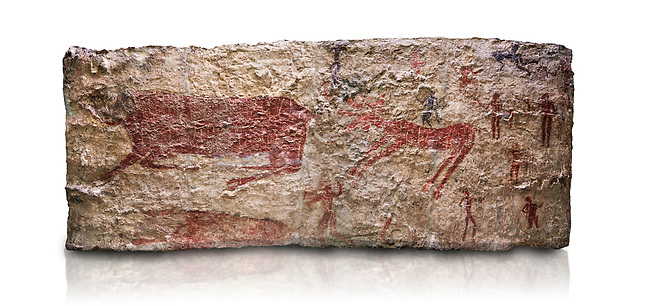 Hunting scene. A deer and wild boar are depicted being hunted with people using bows and arrows. One person is depcted trying to net the boar. 6000 BC,  Catalhoyuk Collections. Museum of Anatolian Civilisations, Ankara. Against a white background