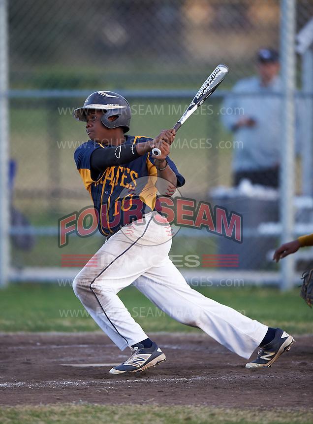 Boca Ciega Pirates Darius Blasingane (10) during a game against the Lakeland Spartans at Boca Ciega High School on March 2, 2016 in St. Petersburg, Florida.  Boca Ciega defeated Lakewood 2-1.  (Mike Janes/Four Seam Images)