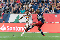 FOXBOROUGH, MA - JUNE 23: Fabio Gomes #9 of New York Red Bulls takes a shot during a game between New York Red Bulls and New England Revolution at Gillette Stadium on June 23, 2021 in Foxborough, Massachusetts.