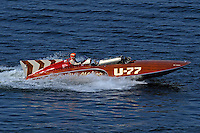 """Larry Fuller pulss away from the dock in the U-77 """"Miss Wahoo"""" (Replica of the vintage 1956 hull built in 2009)...1-2 August, 2009 Seattle, Washington USA..©2009 F.Peirce Williams USA.."""