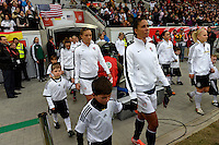 Offenbach, Germany, Friday, April 05 2013: Womans, Germany vs. USA, in the Stadium in Offenbach,  Shannon Boxx (m, USA)...