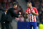 Atletico de Madrid's coach Diego Pablo Cholo Simeone (l) and Koke Resurreccion during Champions League 2017/2018, Group C, match 2. September 27,2017. (ALTERPHOTOS/Acero)