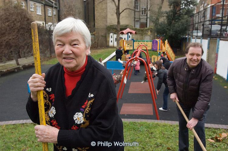 Norah Curtis (LSGA Secretary) and Jim Quinn (LSGA Treasurer) at Lisson Street Gardens. The small park in Paddington, London, is run on a voluntary basis by local residents.
